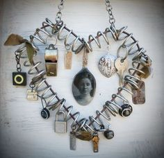 Making decorative use of those memorable pieces at the bottom of your jewelry/memory box Give Me Your Heart, I Love Heart, Tiny Heart, Blowin' In The Wind, Heart Locket Necklace, Key Pendant, Metal Crafts, White Gold Diamonds, Handmade Crafts
