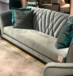 Custom Tufted Green Velvet Sofa with Brass Base Adesso Eclectic Imports - Salvabrani Sofa Set Designs, Modern Sofa Designs, Sofa Furniture, Living Room Furniture, Furniture Design, Living Room Decor, Furniture Movers, Cheap Furniture, Rustic Furniture