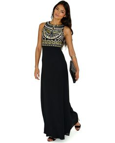 Black Sleeveless Tribal Embroidery Maxi Dress 24.19