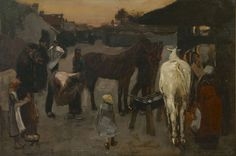 George Hendrik Breitner (1857-1923) At the blacksmith's, oil on canvas 50.0 x 75.4 cm., signed l.r. and dated '87. Collection Simonis & Buunk, The Netherlands.