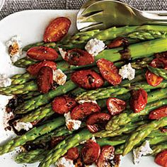 Asparagus with balsamic tomatoes and goat cheese. Made this for Easter dinner--super yum.