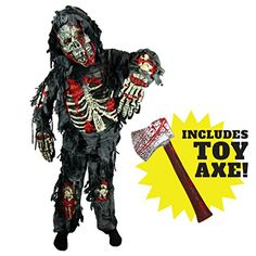 Spooktacular Creations Deluxe Zombie Child Costume Set. Includes Long-Sleeved Shirt with Attached Bones and Hood Pants with Attached Leg Bones Gloves Mask and Zombie Hunter AXE !!! Super Value Pac...