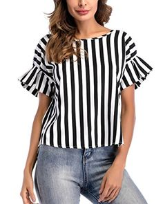 Eymoiy Women Flare Sleeve Chiffon Casual Blouse Top Shirt with Vertical Stripe Loose Fit Daily and Working Latest Tops Fashion, Casual Outfits, Fashion Outfits, Womens Fashion, Style Feminin, Bollywood Dress, Mode Plus, Mode Chic, Lace Tops