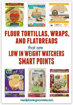 """We are answering the question, """"What tortillas are low in Smart Points?"""" with our list of Weight Watchers SmartPoint tortillas, wraps, and flatbreads. Stick to your Weight Watching goals with these tortillas low in SmartPoints. Weight Watchers Snacks, Weight Watchers Program, Plats Weight Watchers, Weight Watchers Meal Plans, Weight Watchers Smart Points, Weight Watcher Dinners, Weight Loss, Lose Weight, Food Cakes"""