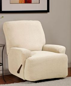 [+] Large Recliner Slipcovers Bone Off White Diamond