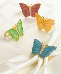 Lenox Butterfly Meadow Napkin Rings, Set of 4, Multi - 047596190548
