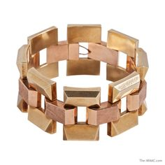 """Vintage two-tone 14k pink gold and yellow gold bracelet,  American, 1940""""s.  Length: 8"""""""
