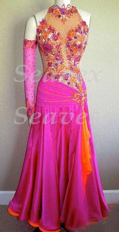Ballroom Everday Standard Watlz Tango Dance Dress US 10 UK 12 Skin Pink Orange | eBay