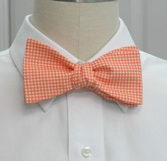Men's Bow Tie in orange gingham. $27.00, via Etsy.                                                                                                                                                                                 More