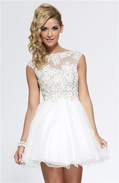 Cheap Sheer Prom Dress - Discount 2015 Sheer Neckline Beaded Lace Applique Cap Sleeve Short Prom Dresses White/Pink Tulle Homecoming/Party Gowns Online with $90.48/Piece on Flodo's Store | DHgate.com