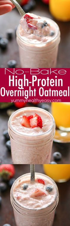 Overnight Oatmeal that's packed full of protein (13 grams), fiber (6 grams) and fruit. No-bake, with only 252 calories! Perfect breakfast to grab on the go! AD