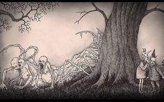 """Don Kenn (also known as John Kenn Mortensen) creates fantastical scenes of monsters entirely on Post-It notes. The artwork is inspired by Edward Gorey and Maurice Sendak's """"Where The Wild Things Are. Arte Horror, Horror Art, Monster Sketch, Monster Drawing, Creepy Drawings, Creepy Art, Don Kenn, Post Its, Arte Obscura"""