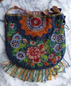 Antique Beaded Drawstring Bag - Floral Design with Fringe #Purse