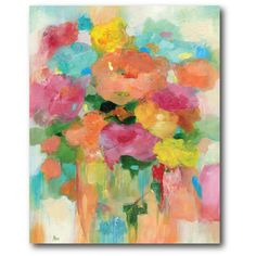 PTM Images 12 in. x 10 in. ''Splashy Flower II'' by Canvas Wall Art, Multicolored Art Web, Flower Canvas, Detail Art, Painting Prints, Art Paintings, Floral Paintings, Pour Painting, Watercolor Painting, Wrapped Canvas