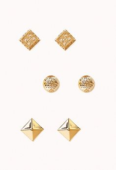 $3.80 Hammered Cutout Stud Set | FOREVER21 - 1002246073