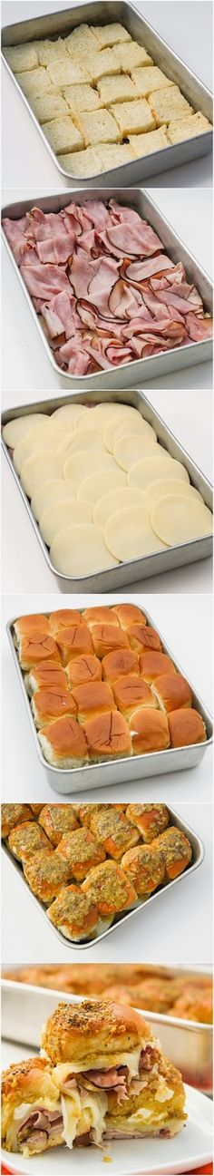 Roll Ham Sliders Easy Hawaiian Rolls with Ham and Cheese perfect for a Brunch the next morning or a quick slumber party snack at night.Easy Hawaiian Rolls with Ham and Cheese perfect for a Brunch the next morning or a quick slumber party snack at night. Think Food, I Love Food, Good Food, Yummy Food, Fun Food, Yummy Lunch, Tailgate Sandwiches, Tailgate Food, Hawaiian Sandwiches