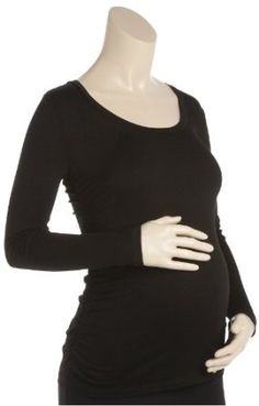 Maternal America Scoop Neck With Back Ruched Top - Black-Black-Small Maternal America. $35.89