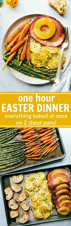 An ENTIRE Easter Dinner made in under an hour! Two sheet pans hold all the food that is baked at the same time!! This Sheet Pan Easter Dinner consists of: roasted Parmesan asparagus, honey-butter roasted carrots, pineapple brown sugar ham, cheesy au gratin potatoes, and a toasted baguette. via http://chelseasmessyapron.com