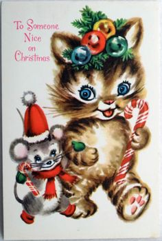 #390 60s Cat & Mouse-Candy Cane-Vintage Christmas Greeting Card