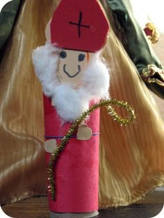 Easy craft for toddlers/preK kids, Saint Nicholas out of a tube