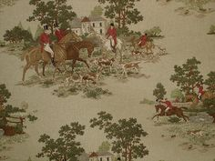 Horse hunting jumping toile fabric