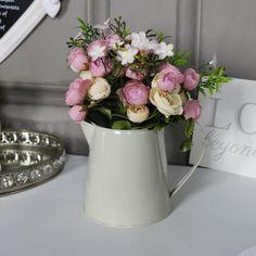 Artificial Rose Arrangement in Small Cream Jug #trends #homedecor #interiors #homeideas #whitedecor #home #vintagestyle #vintagehome #vintagehome #interiordecor #wallart #decor #decorideas #homestyling #flowers #weddings #rustic #centerpiece