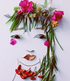 Face the Foliage Fun to do with Students (Land Art)! Art Et Nature, Deco Nature, Nature Crafts, Nature Collage, Land Art, Art Floral, Art Environnemental, Environmental Art, Outdoor Art