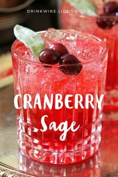 This #cocktail is perfect throughout the holiday season and would be a beautiful addition to your #Thanksgiving or #Christmas tables! The Cranberry Sage is an easy drink to make that will make you look like a pro!