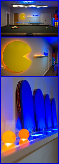 Pac-Man Ping Pong Wall - designed to house all of the ping-pong balls and paddles. Ambient LED lighting illuminates balls and paddles, which are hidden by the Ghosts when not in use on the shelf.