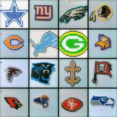 >> NFC NFL Perler Beads Chains <<#PerlerBeads #HamaBeads #PerlerBead #NFL #NFC #Football #DallasCowboys #Cowboys #NewYorkGiants #Giants #PhiladelphiaEagles #Eagles #WashingtonRedskins #Redskins #ChicagoBears #Bears #DetroitLions #Lions #GreenBayPackers #Packers #MinnesotaVikings #Vikings #AtlantaFalcons #Falcons #CarolinaPanthers #Panthers #NewOrleansSaints #Saints #TampaBayBuccaneers #Buccaneers #ArizonaCardinals #Cardinals #StLouisRams #Rams #SanFrancisco49ers #49ers #SeattleSeahawks… Melty Bead Patterns, Perler Patterns, Beaded Jewelry Patterns, Beading Patterns, Seed Bead Crafts, Peyote Beading, Beadwork, Perler Bead Templates, Beaded Banners