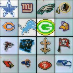 >> NFC NFL Perler Beads Chains <<#PerlerBeads #HamaBeads #PerlerBead #NFL #NFC #Football #DallasCowboys #Cowboys #NewYorkGiants #Giants #PhiladelphiaEagles #Eagles #WashingtonRedskins #Redskins #ChicagoBears #Bears #DetroitLions #Lions #GreenBayPackers #Packers #MinnesotaVikings #Vikings #AtlantaFalcons #Falcons #CarolinaPanthers #Panthers #NewOrleansSaints #Saints #TampaBayBuccaneers #Buccaneers #ArizonaCardinals #Cardinals #StLouisRams #Rams #SanFrancisco49ers #49ers #SeattleSeahawks #Seahawks Easy Perler Bead Patterns, Melty Bead Patterns, Perler Bead Templates, Beaded Jewelry Patterns, Beading Patterns, Seed Bead Crafts, Beaded Banners, Peler Beads, Iron Beads