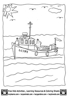 Fishing on Boat Coloring sheet Lucy Learns Kids Activities Punch Needle Patterns, Applique Patterns, Quilt Patterns, Sewing Patterns, Coloring Sheets, Coloring Pages, Colouring, Embroidery Transfers, Hand Embroidery