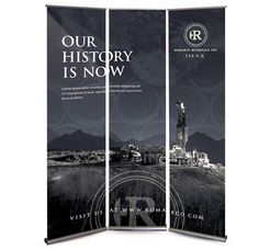 Stand out on the tradeshow floor with a simple design and statement. Romarco Minerals Inc. tradeshow banner design by Andrew Woo.