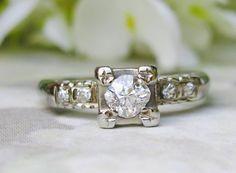 Antique Engagement Ring Old European Cut by LadyRoseVintageJewel