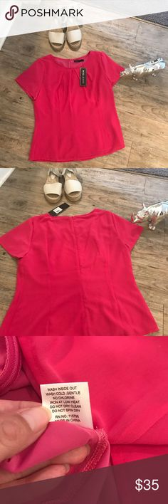 "NWT Super Cute Pink Pleated neck top 💗 Super cute!  Great with jeans or to the office! Pit to pit 21"" too to bottom 23.5""  the shirt is also lined. Mikarose Tops Blouses"