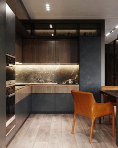 Apartment for a bachelor. on Behance Kitchen Room Design, Luxury Kitchen Design, Home Decor Kitchen, Kitchen Interior, Fancy Kitchens, Black Kitchens, Home Kitchens, Modern Home Interior Design, Cuisines Design