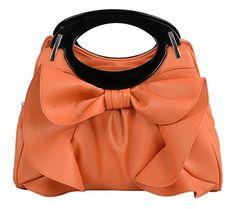 Bow-knot Ruffle Accent Handbag PU Leather Handbag