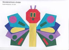 """Een wonder schone vlinder""  Vleugels - vlieger. Lijf - rechte staande vouw www.vouwjuf.nl. Hungry Caterpillar Activities, Very Hungry Caterpillar, Eric Carle, Spider Book, Art For Kids, Crafts For Kids, Butterfly Crafts, Chenille, Preschool Activities"