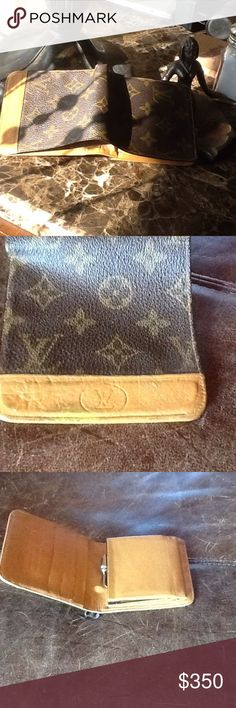 Authentic LOUIS VUITTON original hand made FRANCE Full size bifold bill holder credit card 4 slots plus one big pocket for more cards ,built in coin purse large bill holder capacity inside very clean , outside has marks along the smooth tan leather opening ,otherwise in perfect working and looking condition STAMPED LV original hand made MADE IN FRANCE,just a good quality beauty and collectors piece VINTAGE ORIGINALS a mark across the tan opening flap it is in used  condition for the mark but…