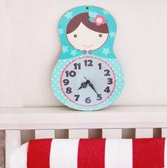 Girl  Wall Clock Matryoshka doll russia inspired by GalaStudio