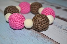 Teething Ring Pink and Brown   Eco Baby by BellaHenryBoutique, $13.00