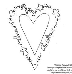 OR could use as a pattern w/permanent sharpie marker on whit- heart embroidery.OR could use as a pattern w/permanent sharpie marker on whit heart embroidery.OR could use as a pattern w/permanent… - Embroidery Designs, Christmas Embroidery Patterns, Christmas Hearts, Noel Christmas, Christmas Room, Cross Stitch Embroidery, Hand Embroidery, Simple Embroidery, Embroidery Fashion
