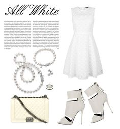 """""""All White"""" by laura-wild-1 ❤ liked on Polyvore featuring Oris, Giuseppe Zanotti, Mikimoto, Chanel and Tommy Hilfiger"""