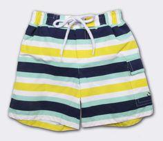 Baby CZ :: older boy :: swimwear :: swim trunks in yellow/aqua Contrast Stripe
