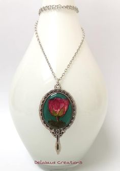 Handmade Jewellery inspired by nature -Irish Design Resin Pendant, Pendant Necklace, Vintage Style, Vintage Fashion, Irish Design, Turquoise Background, Growing Roses, Polymer Clay Jewelry, Dried Flowers
