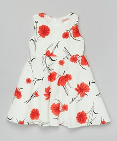 White Floral A-Line Dress - Toddler & Girls