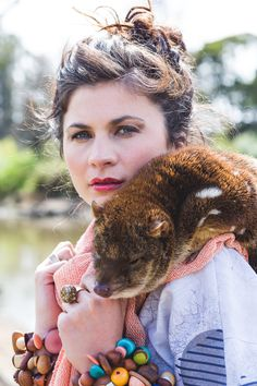 Printed Linen Grey Moss & Spot with Salmon Loose Weave Merino scarf. Designed & made in Tasmania, Australia. Wild at heart, ethical by nature! Fashion Shoot with a Tasmanian Spotted Quoll, also known as a Tiger Cat - Image by Emma Leslie Photography Creative Director Tamika Bannister