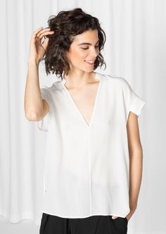 & Other Stories image 1 of Deep-V Silk Blouse in White