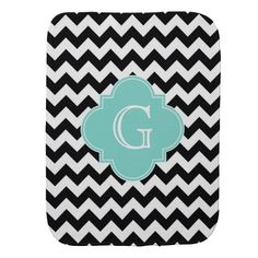 Black White Chevron Aqua Quatrefoil Monogram Baby Burp Cloths