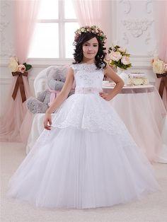 Blanca flor vestido de niña fiesta de por Butterflydressua en Etsy